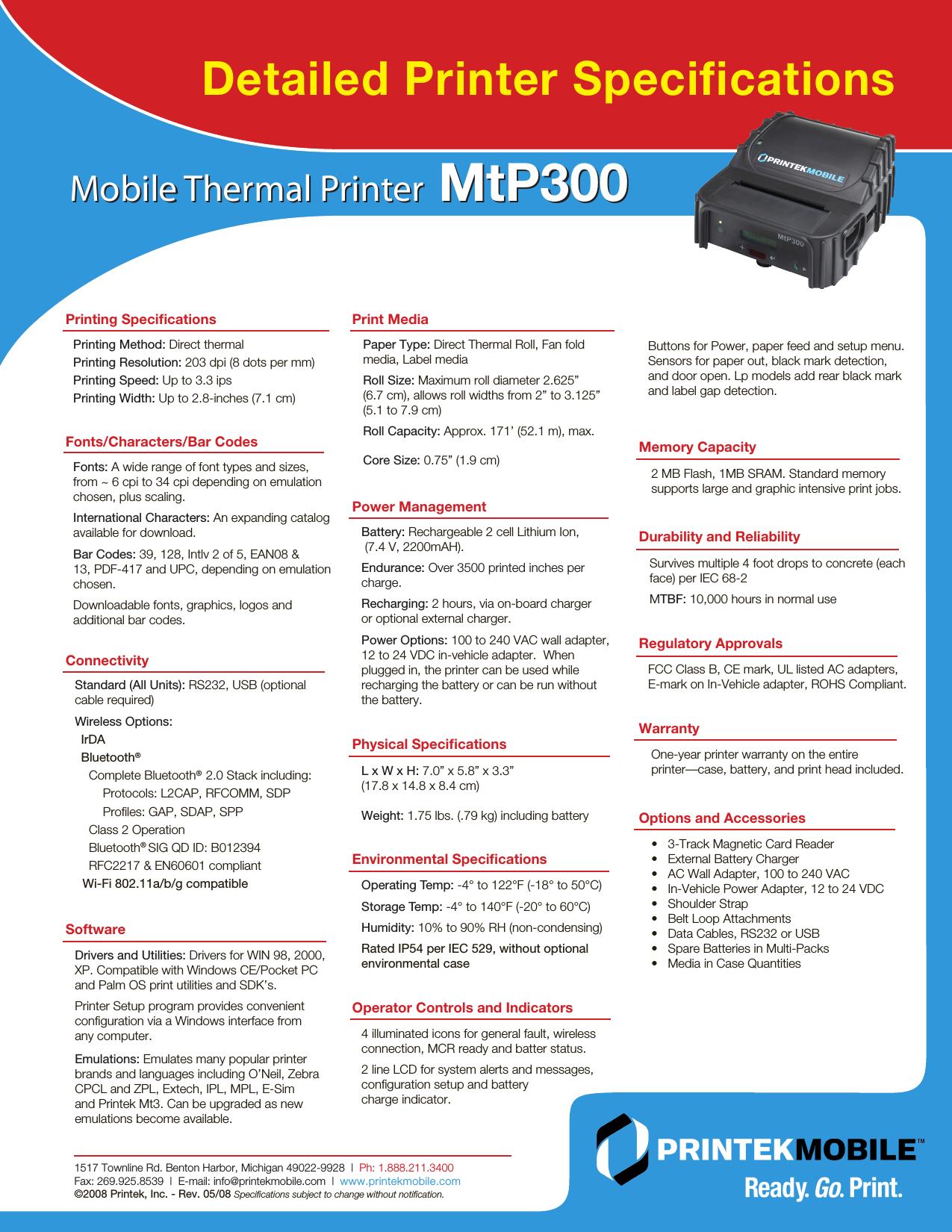 Mt P_300_Spec Sheet P 300 Spec