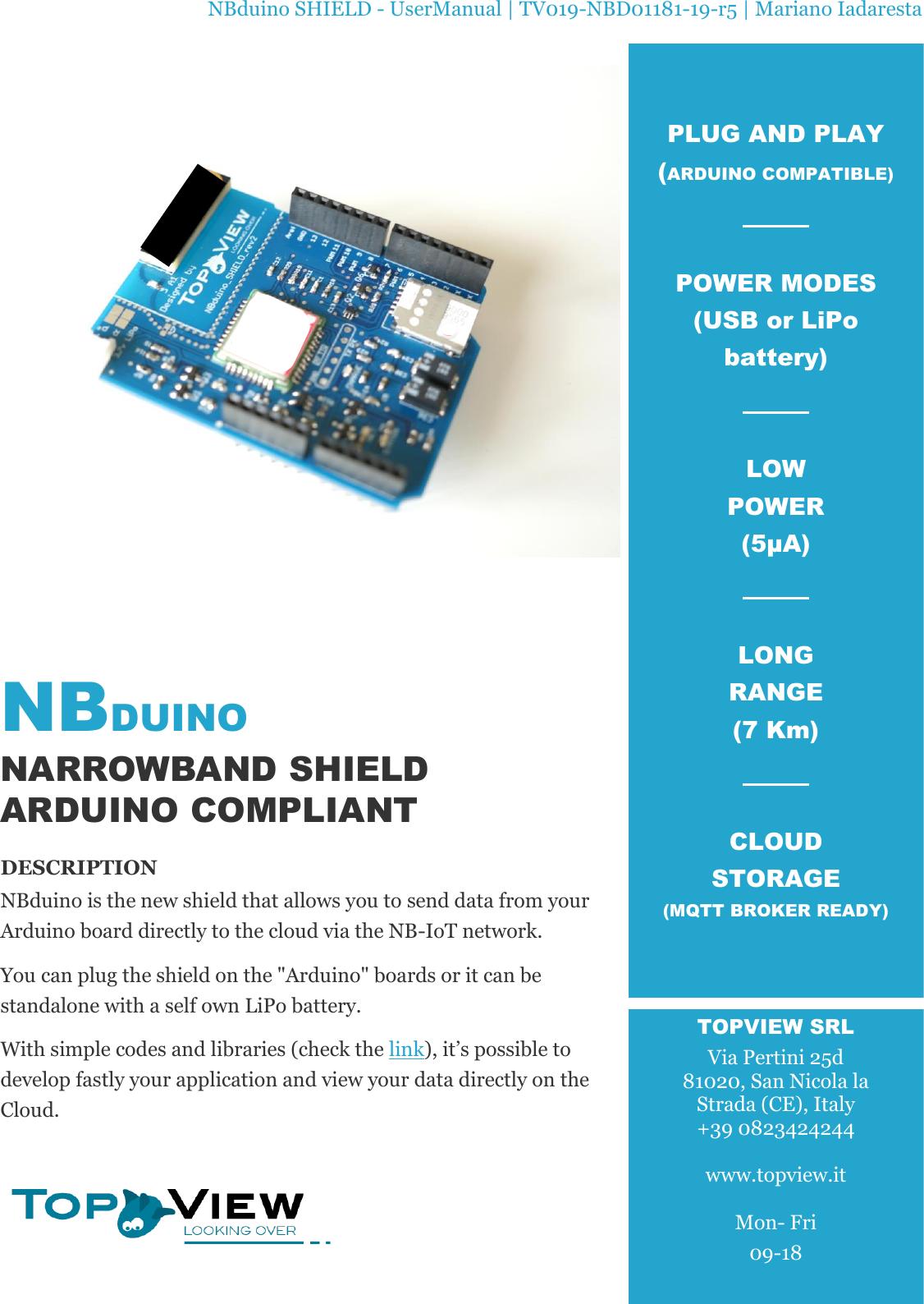 NBduino SHIELD UserManual | TV019 NBD01181 19 r5 User Manual