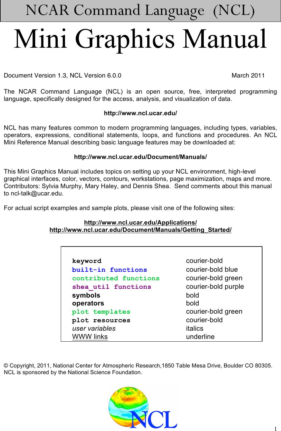 NCAR Graphics Manual