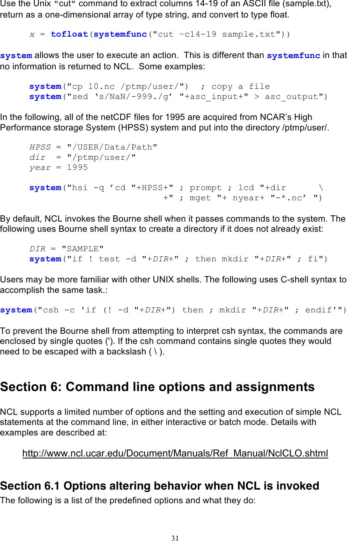 NCAR Language Manual
