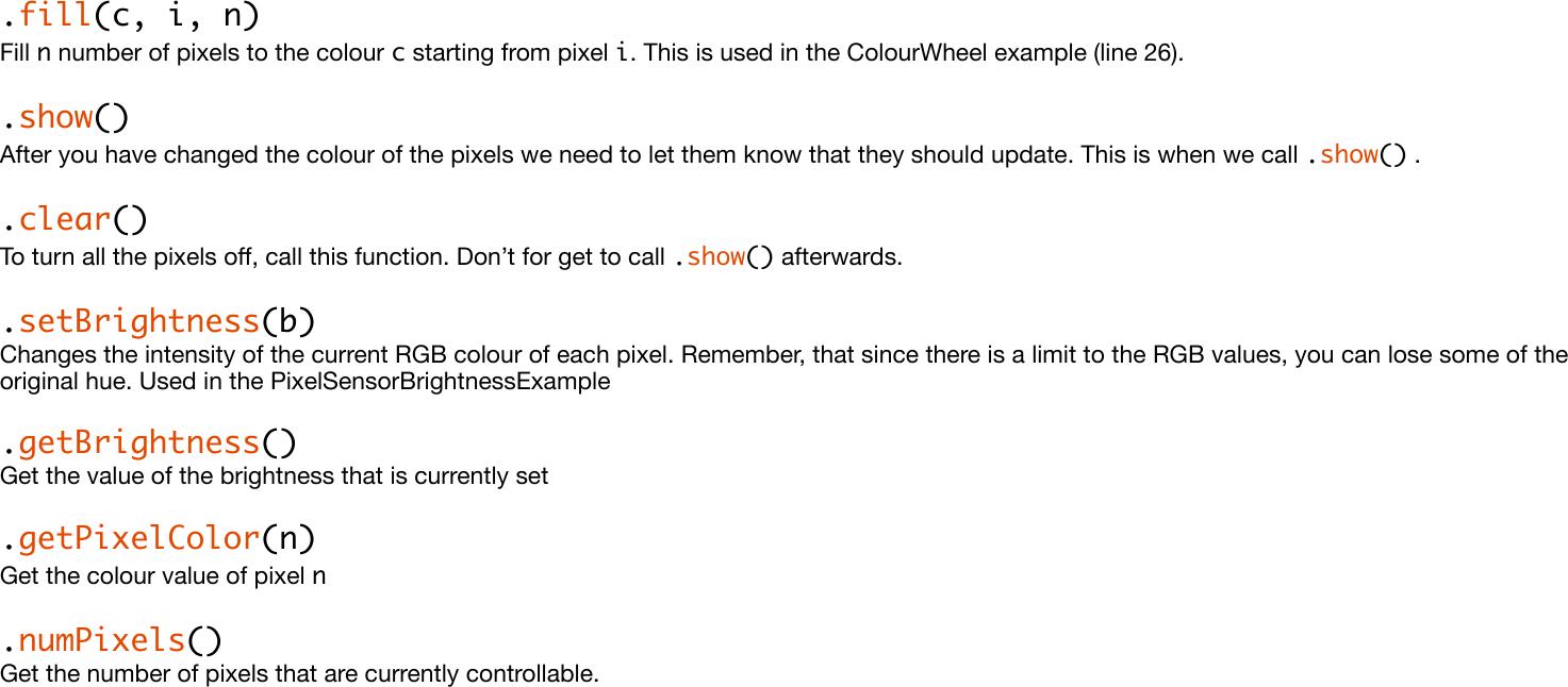 Neo Pixel Example Code Guide