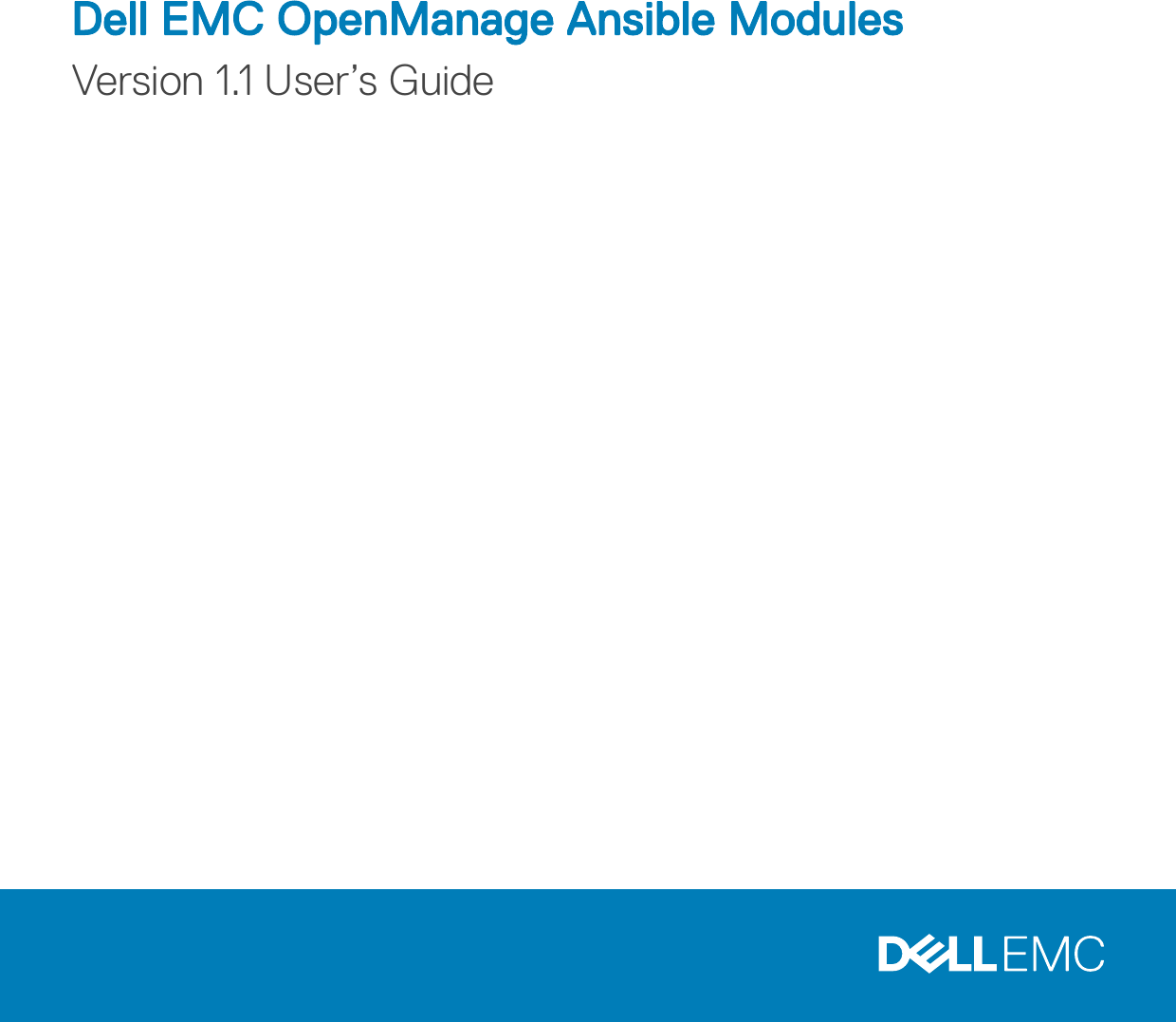Dell EMC OpenManage Ansible Modules Version 1 1 User's Guide