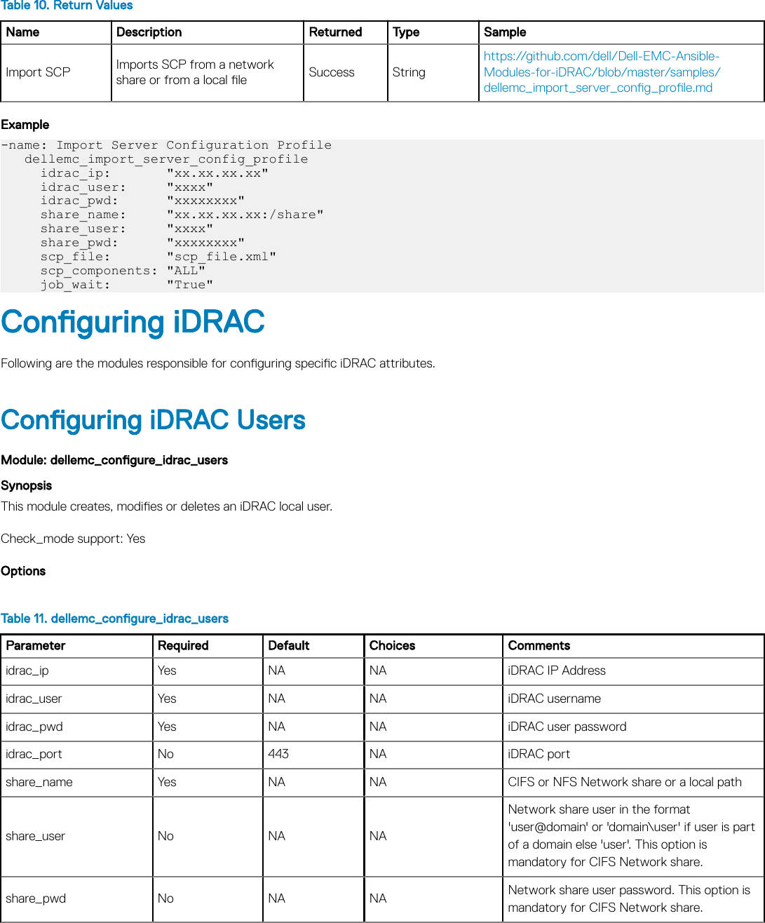 Dell EMC OpenManage Ansible Modules Version 1 1 User's Guide OMAM Users