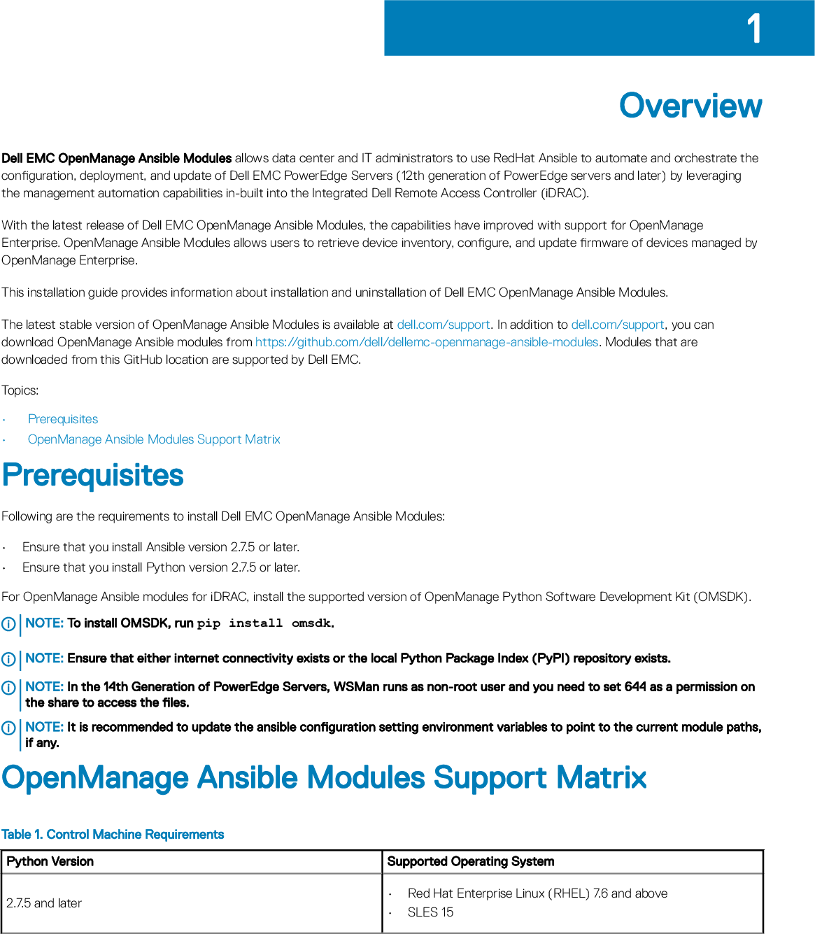 Dell EMC OpenManage Ansible Modules Version 1 3 Installation