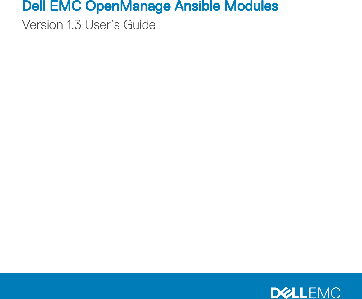 Dell EMC OpenManage Ansible Modules Version 1 3 User's Guide