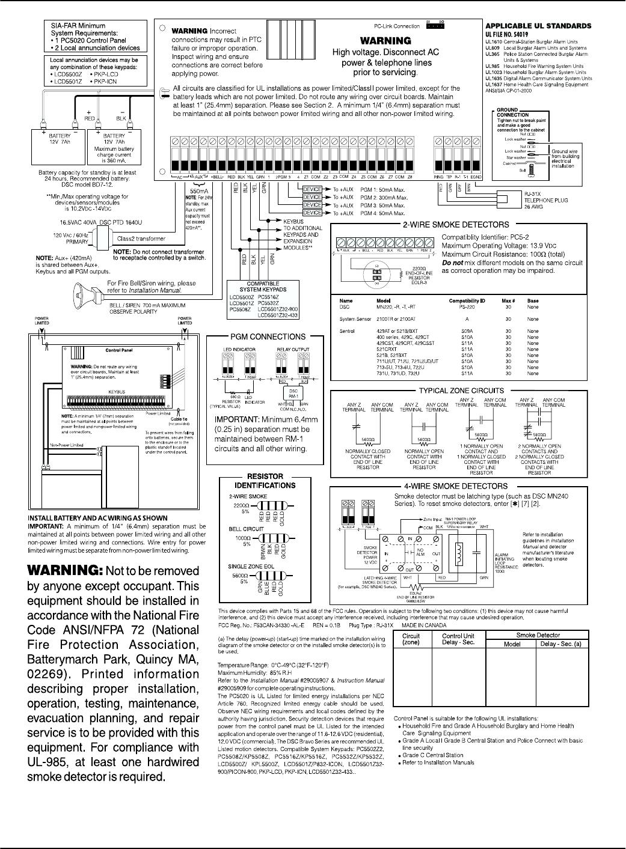Pc5020cf V32 Installation Manual Dsc Diagram 4 Wire Smoke Iv Pc5020 Ul Wiring