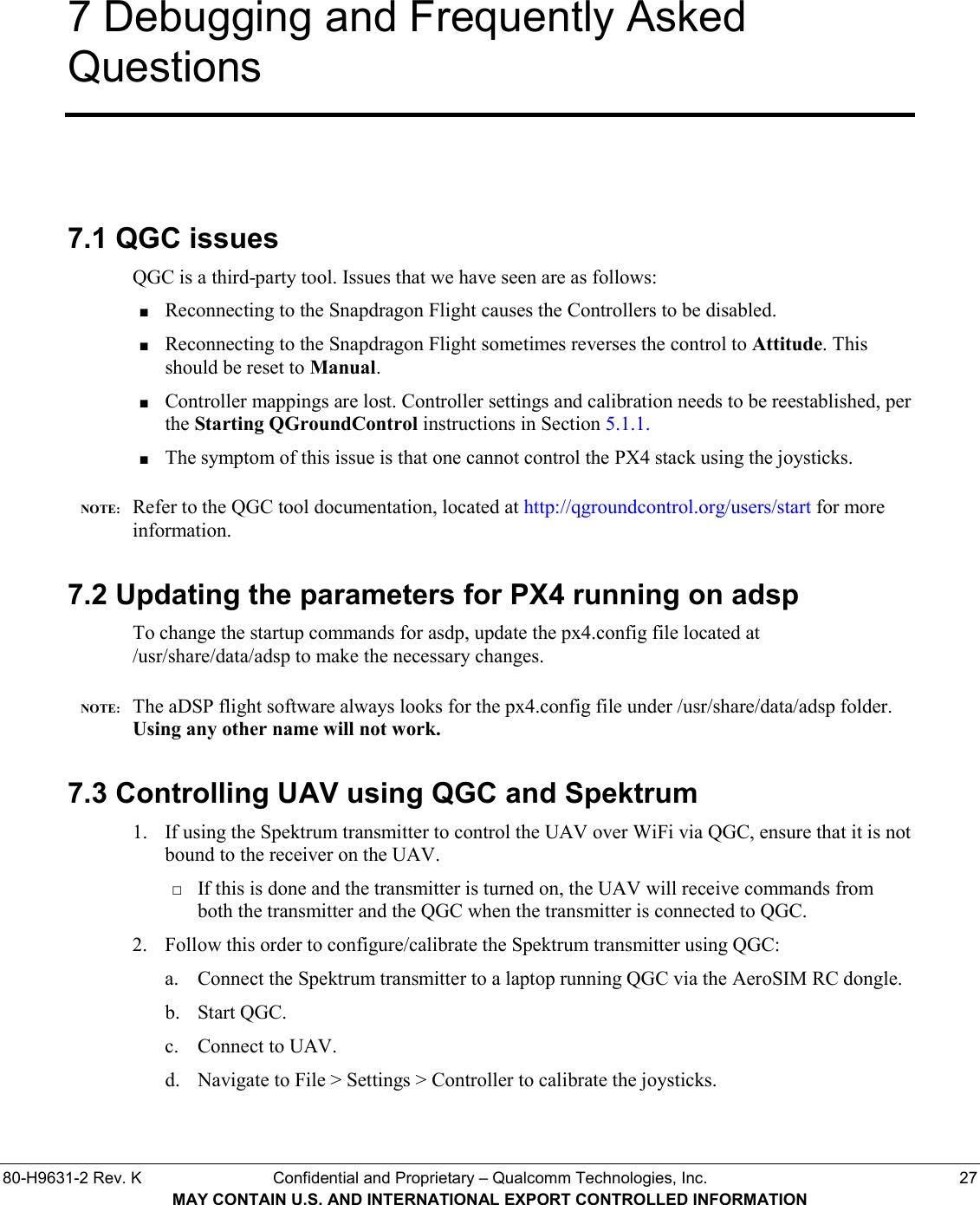 PX4 User Guide For Qualcomm® Snapdragon Flight™ Qualcomm Flight
