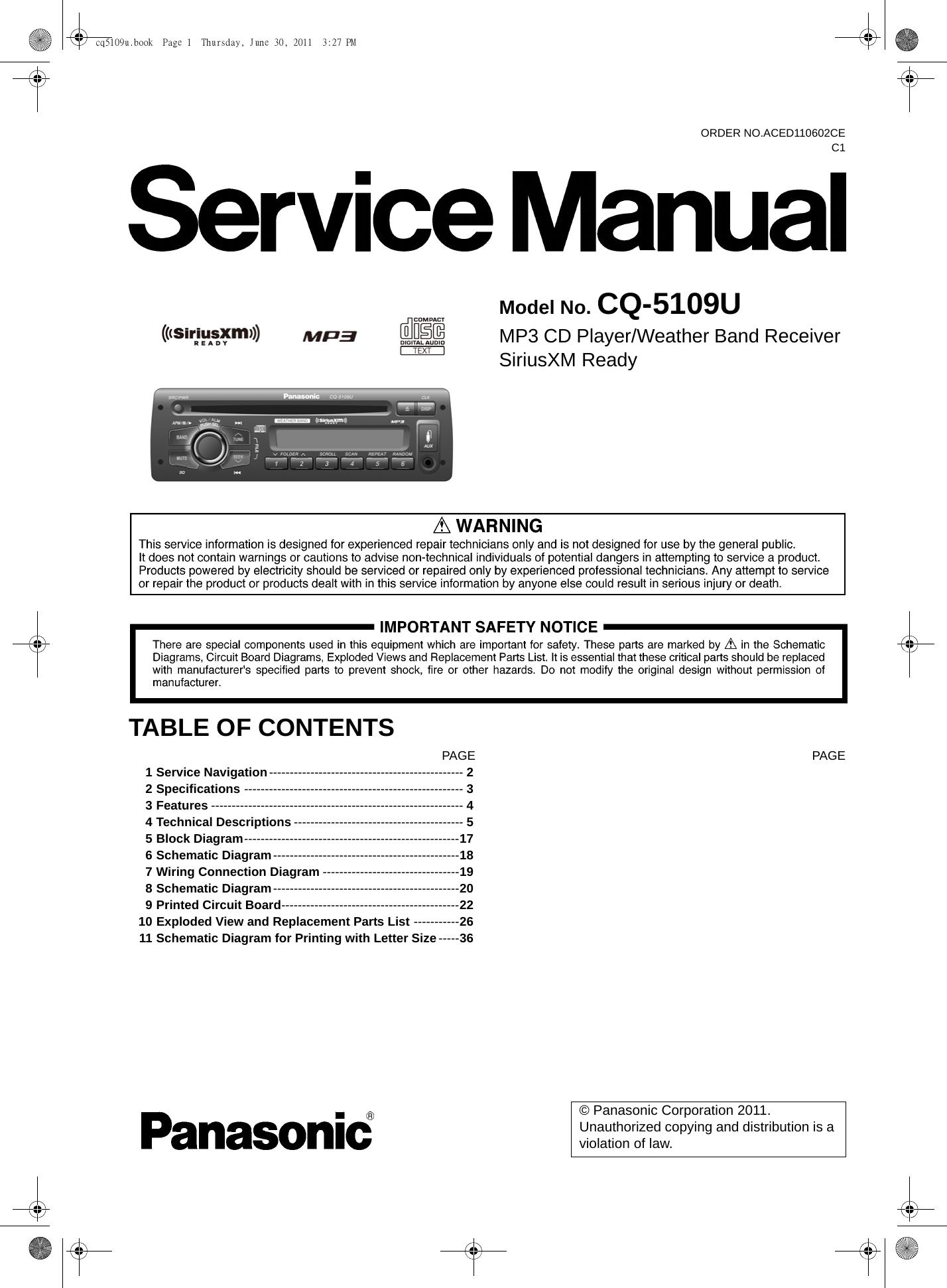Cq5109u Panasonic Cq 5109u Manual