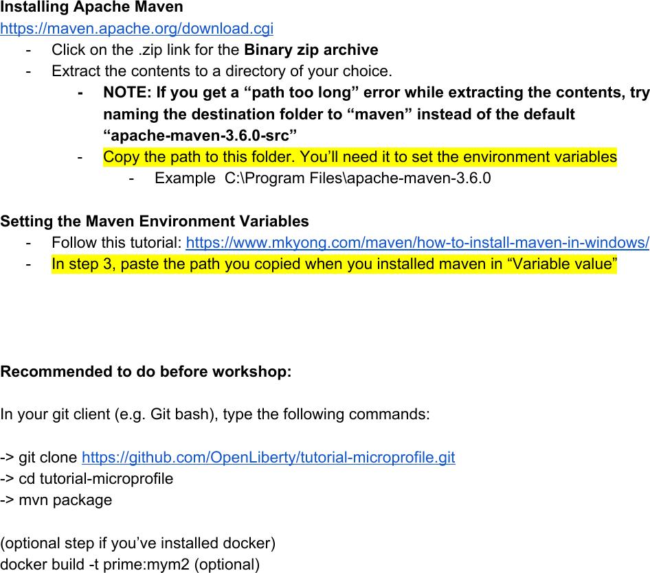 Prerequisite Install Instructions Windows