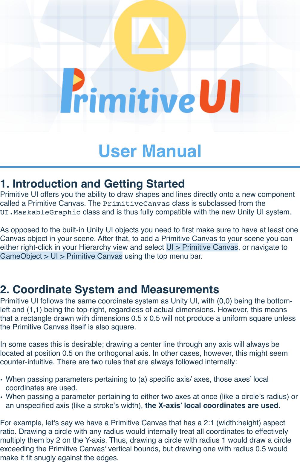 Primitive UI User Manual
