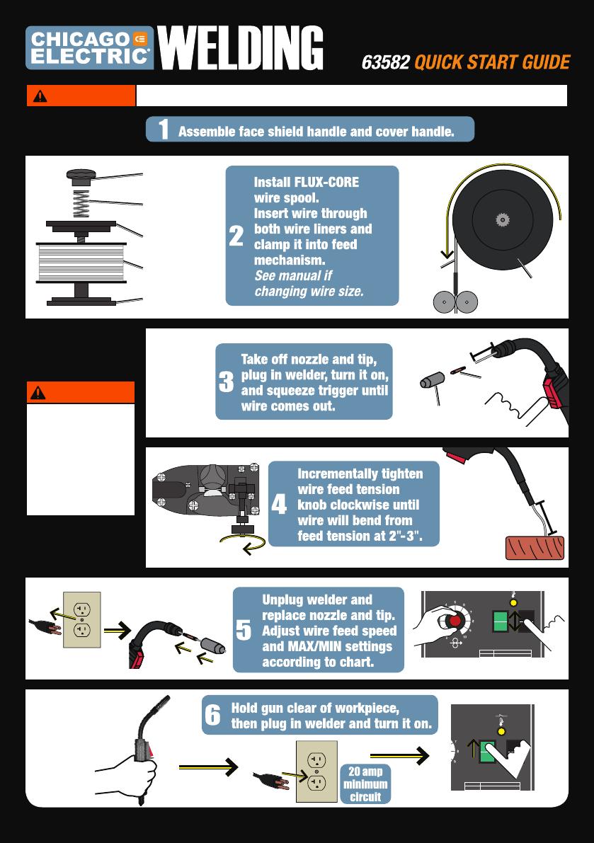Quick Start Guide For The 63582 Flux 125 Welder Q63582
