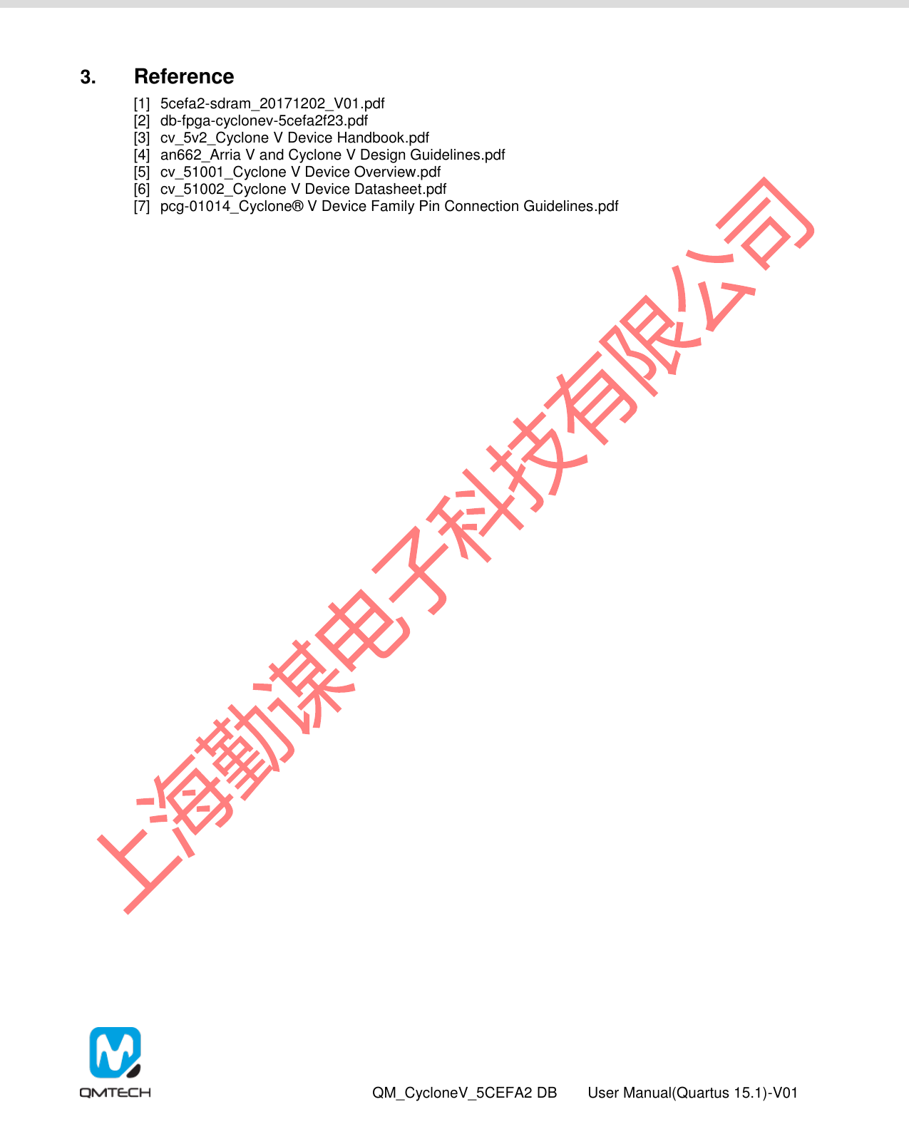 QM_CycloneV_5CEFA2F23开发板 用户手册(Quartus15 1使用) V01 QMTECH