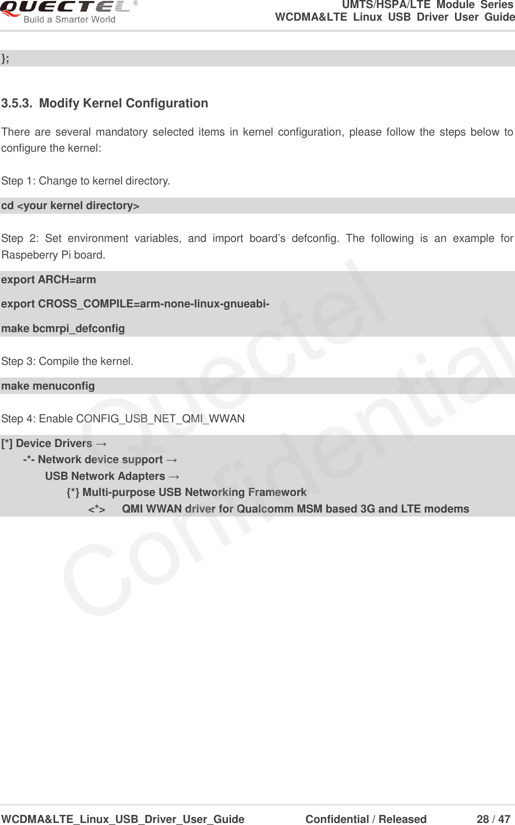 Quectel WCDMA<E Linux USB Driver User Guide V1 8