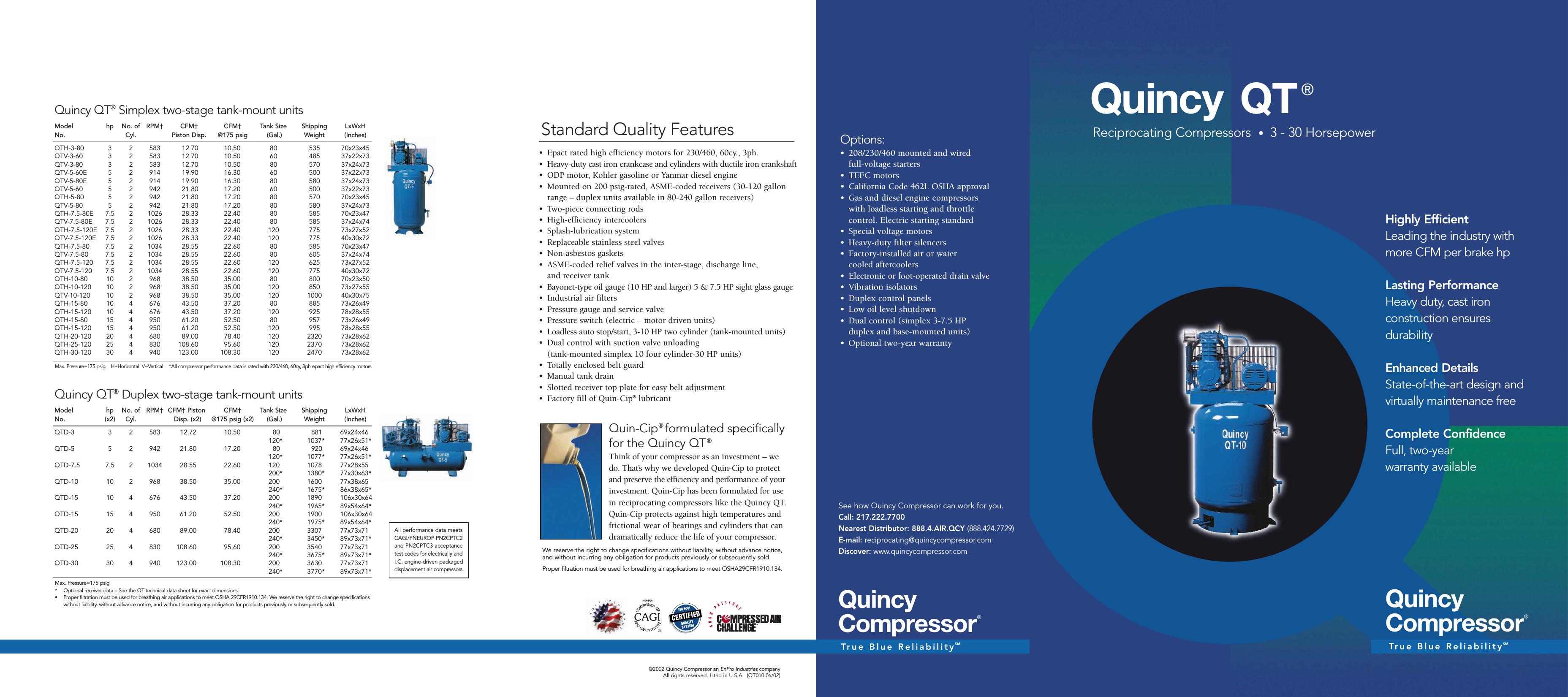 00qncy 014 Qtbrochure 6 02 Quincy Qt 3 30hp Brochure Compressor 10 Wiring Diagram