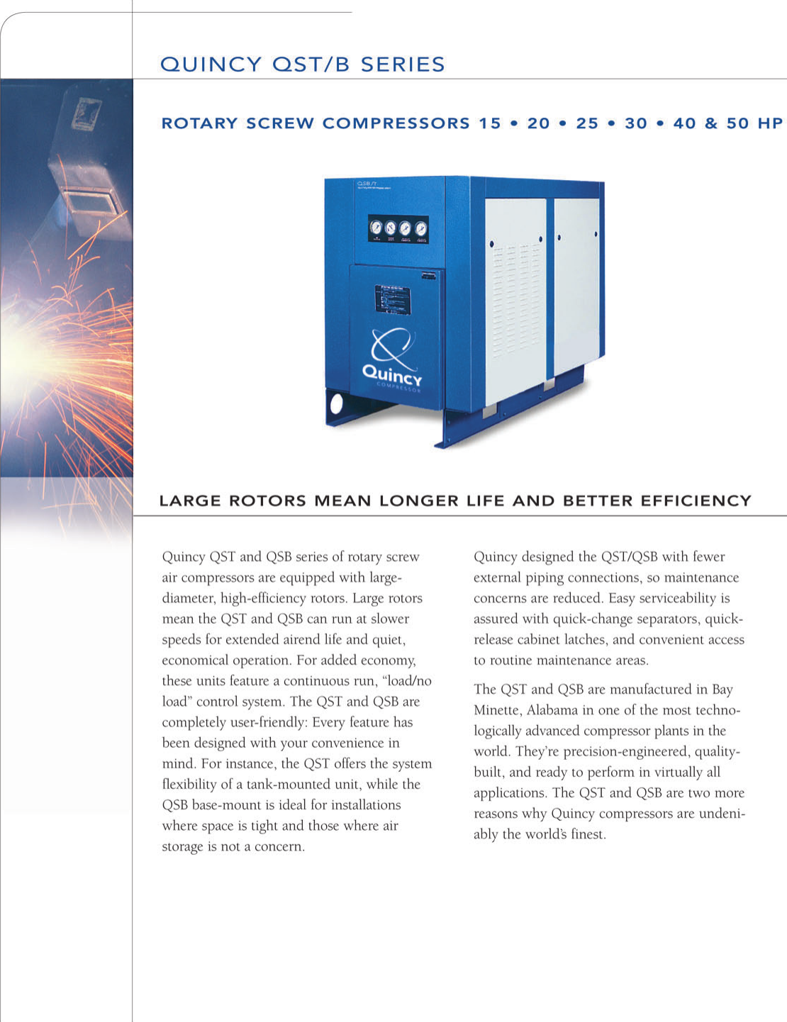 Quincy Sqb Rotary Screw Compressor Brochure Duplex Air Wiring Diagram Page 2 Of 6