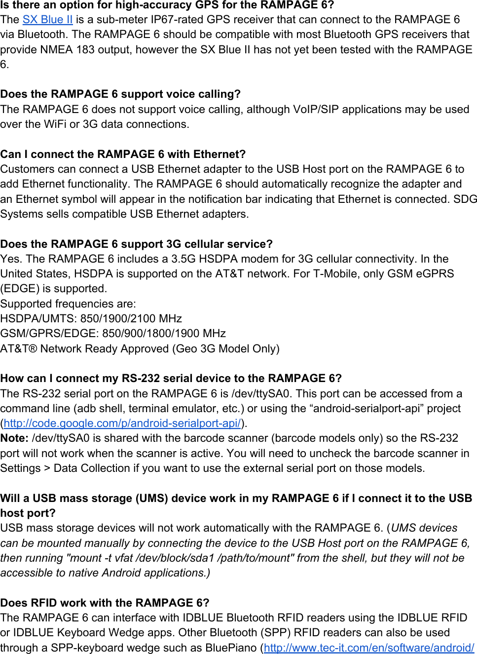 Rampage6Android FAQs