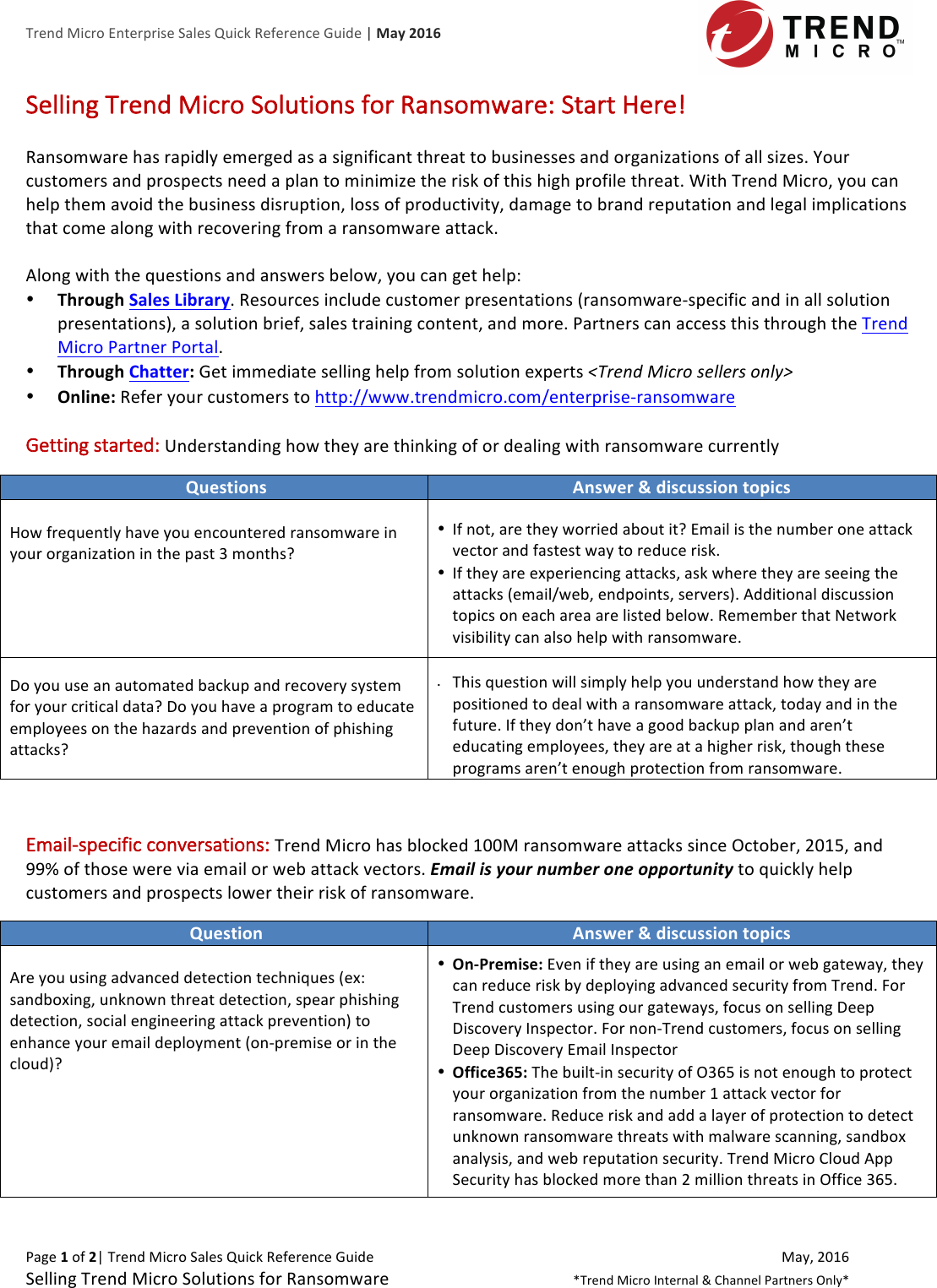 Ransomware Enterprise Sales Quick Reference Guide