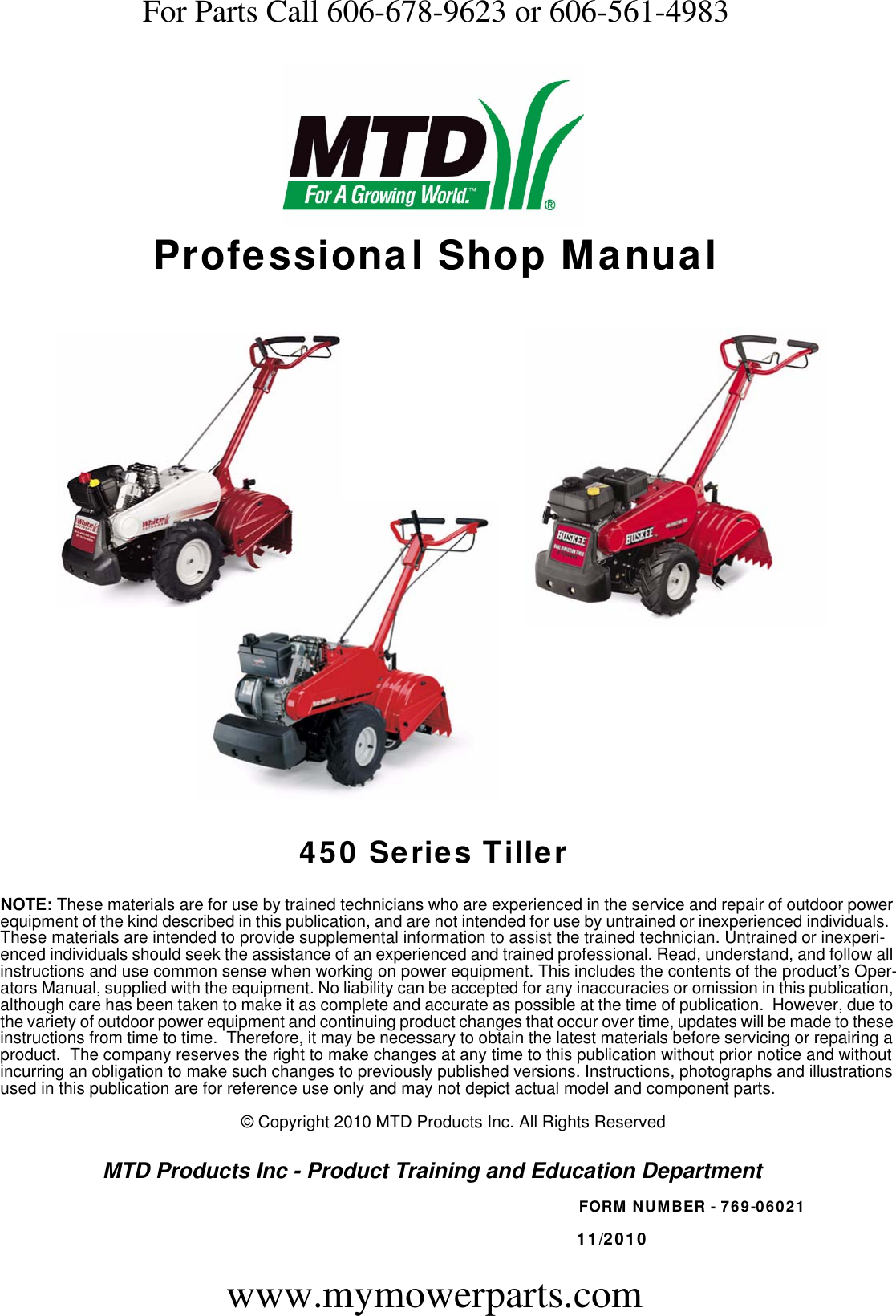 450 Series Tillers    Rear Tine Tiller Repair Manual Cub