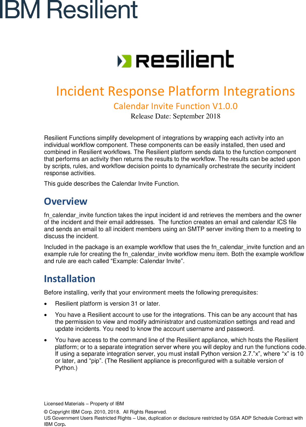 Resilient IRP Integrations Floss Function Guide Calendar Invite