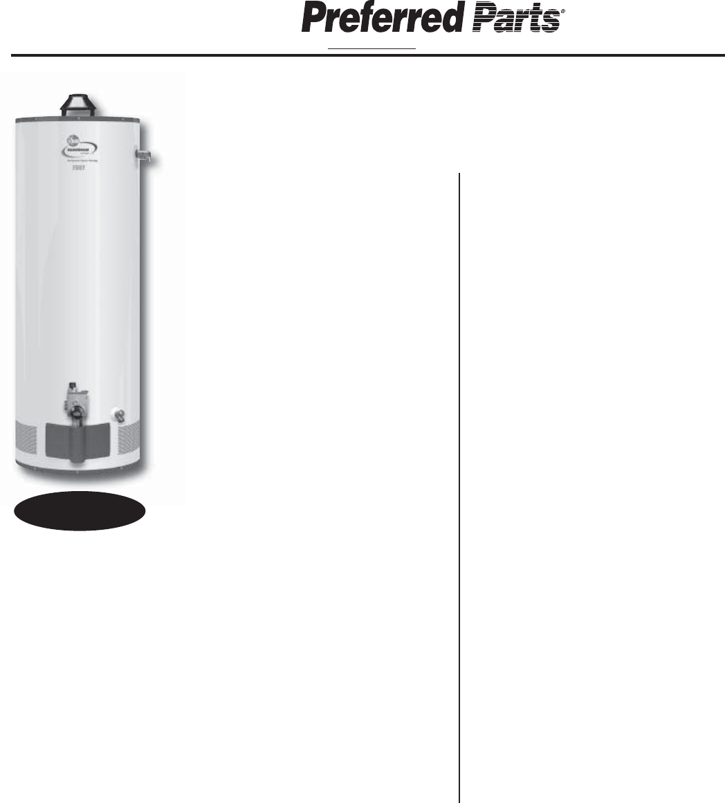 Rheem Water Heater parts catalog on