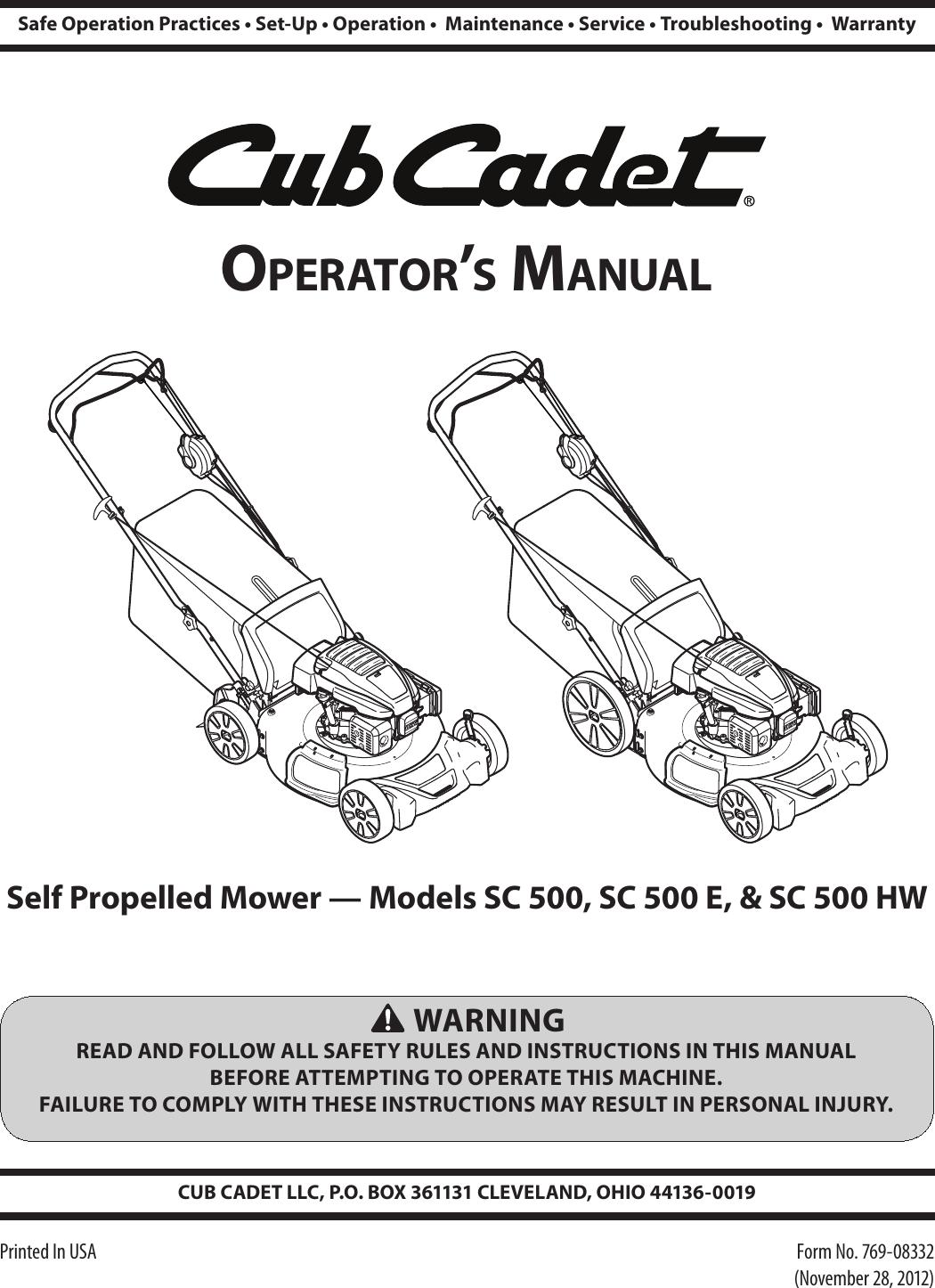 Sc500 Sc500e Sc500hw Operators Manual 2013 Cub Cadet Engine Schematics