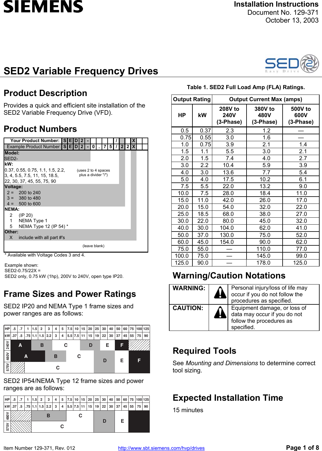 SED2 Variable Frequency Drives Siemens Installation Instructions