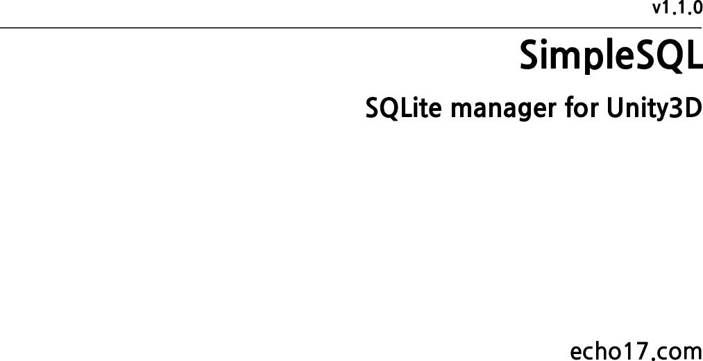 SimpleSQL Simple SQL User Manual