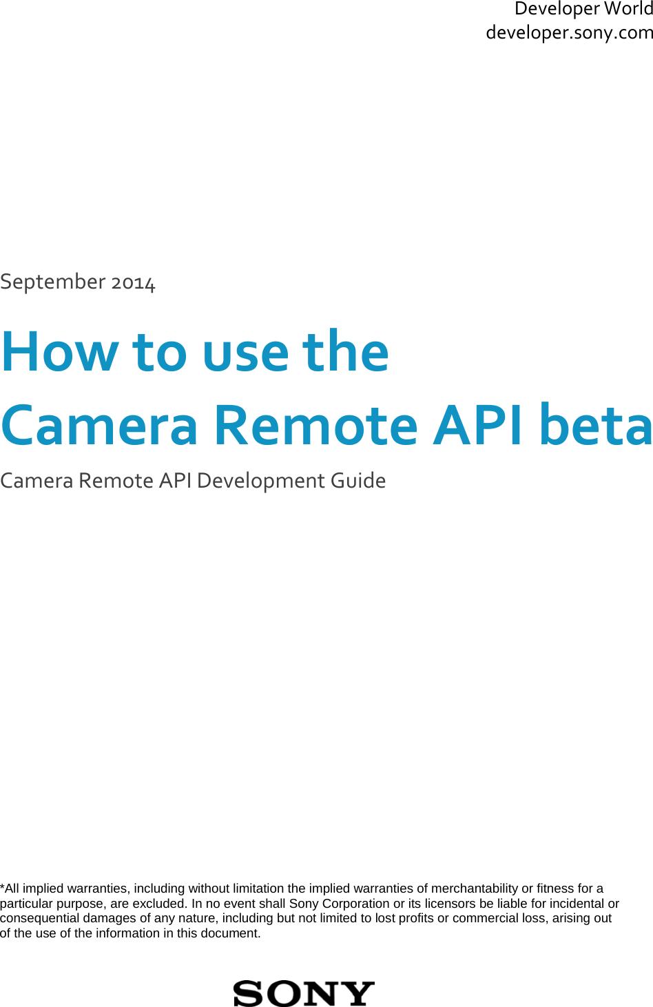 Sony Camera Remote APIbeta Development Guide V1 20