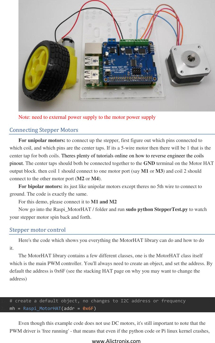 Stepper Motor HAT User Guide