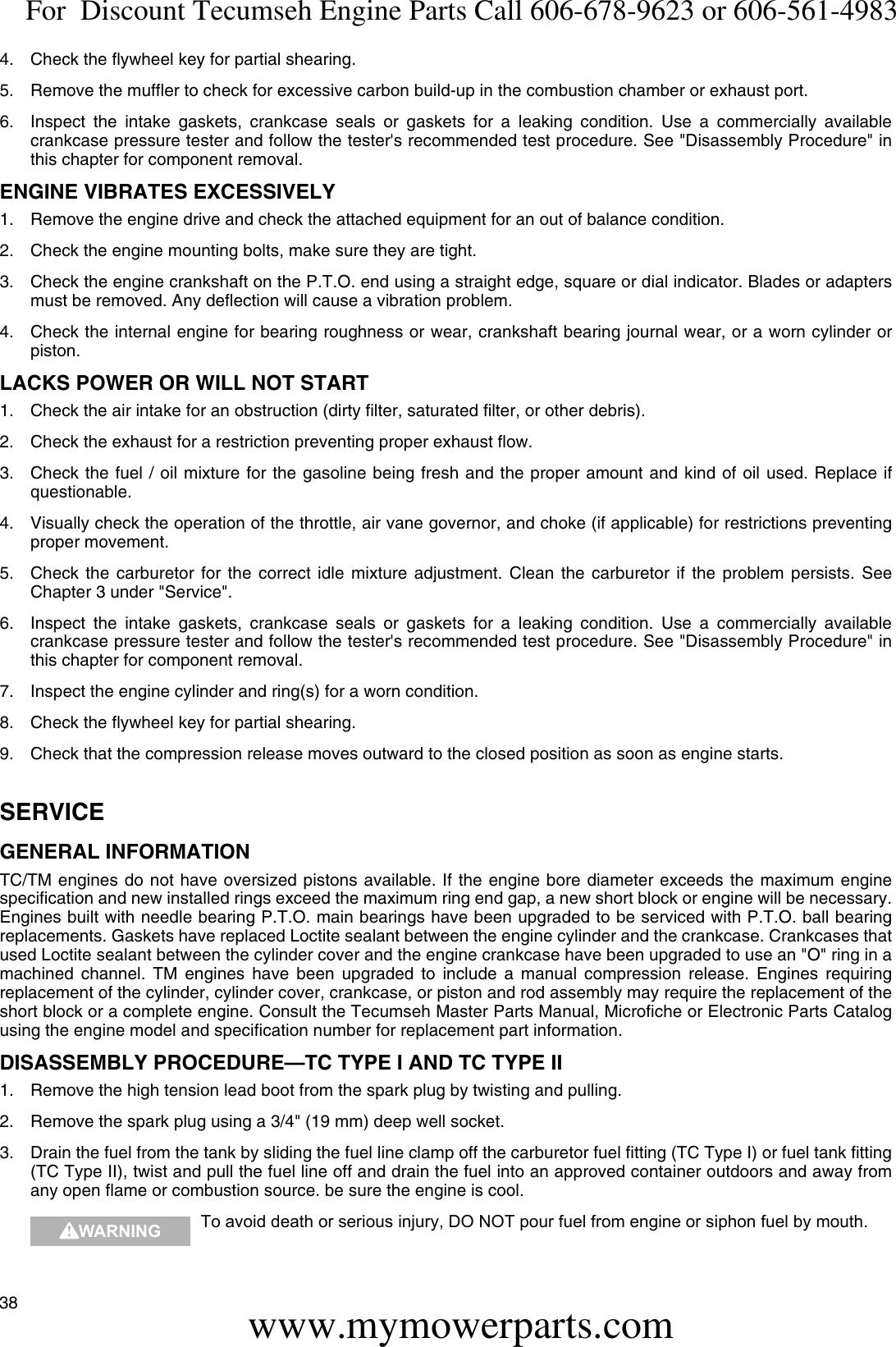 TCIII !! TECUMSEH SERVICE REPAIR MANUAL 2 CYCLE TC TM TC200