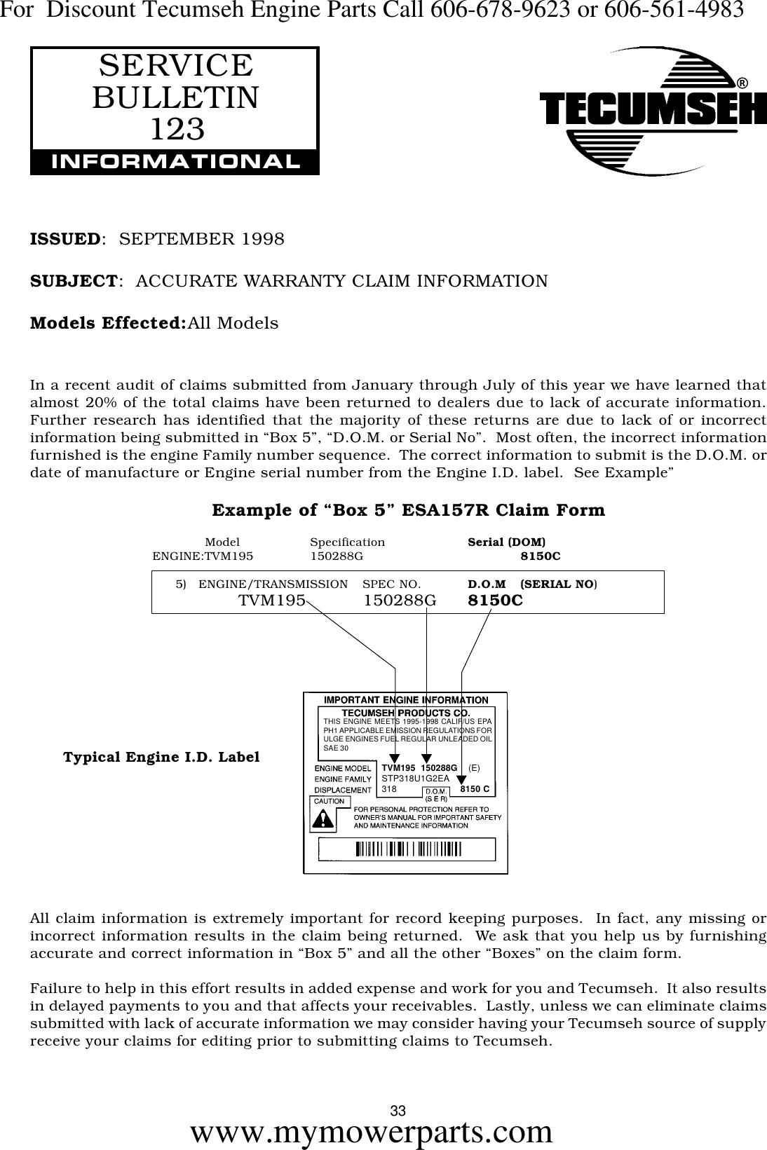 694327 !! TECUMSEH UPDATE SERVICE SCHOOL 1999