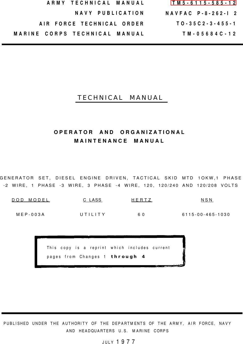 Tamf3b5tmp Tm 5 6115 585 12 Generator Set Diesel Engine Driven Rocker Switch Diagram 28emtd 30 Amp Toggle Tactical Skid Mtd 10 Kw 1 Phase 2 Wire 3 And 4 120 240 208 V Dod Mep