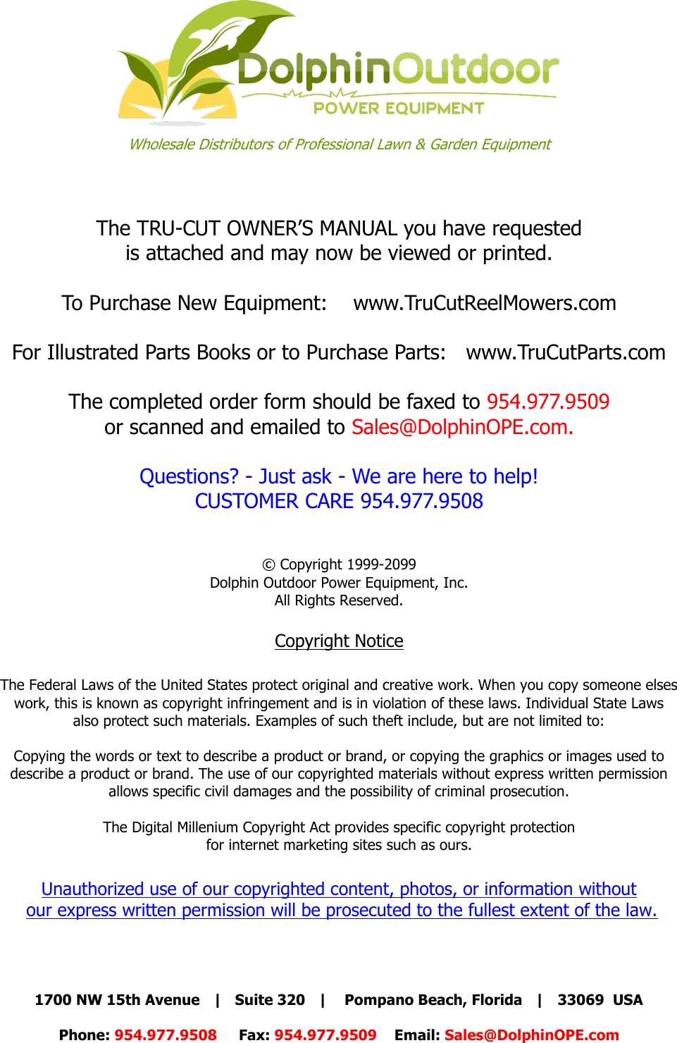 TRU CUT OWNERS MANUAL With Cover 06 2013