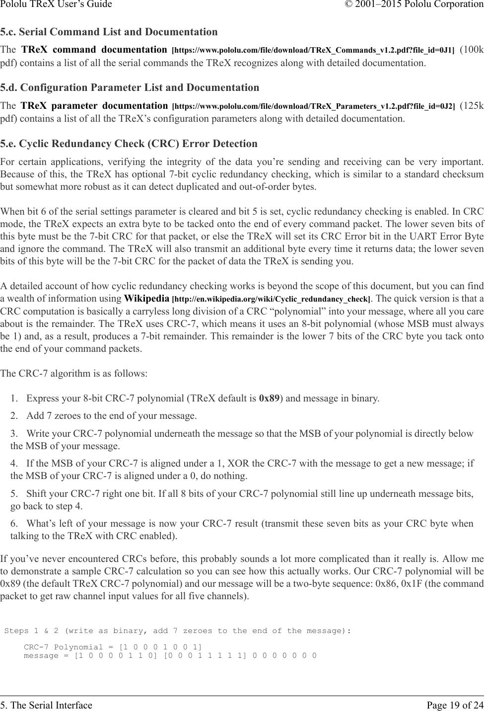 Pololu TReX User's Guide TRe X Manual