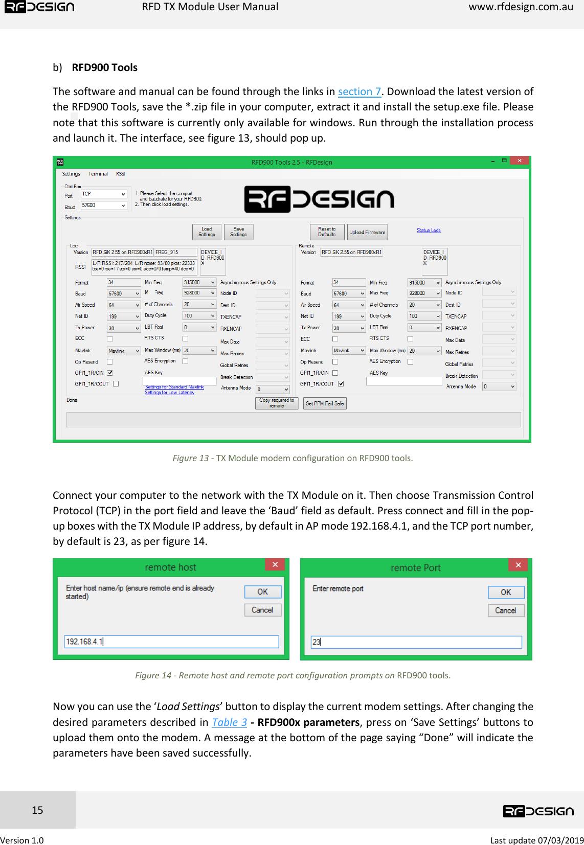 RFDesign RFD900x TX Module User Manual V1 0