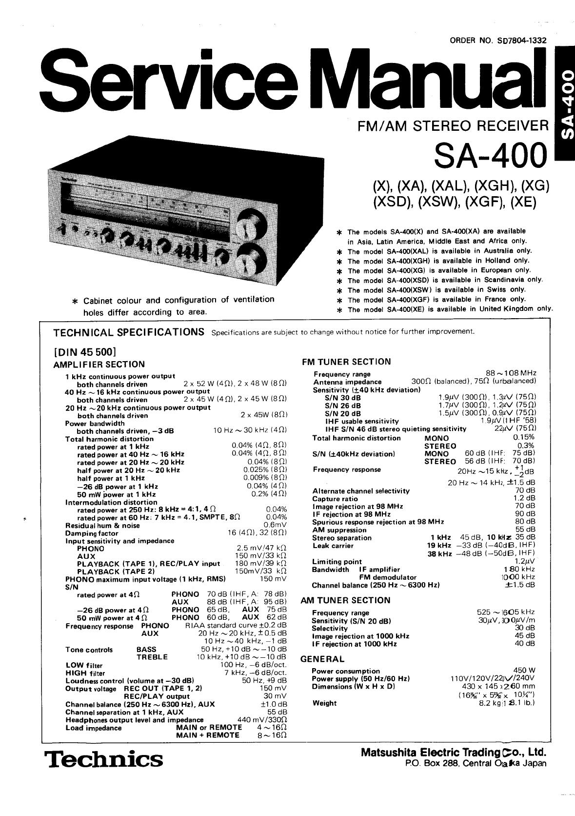 Technics SA 400 Service Manual
