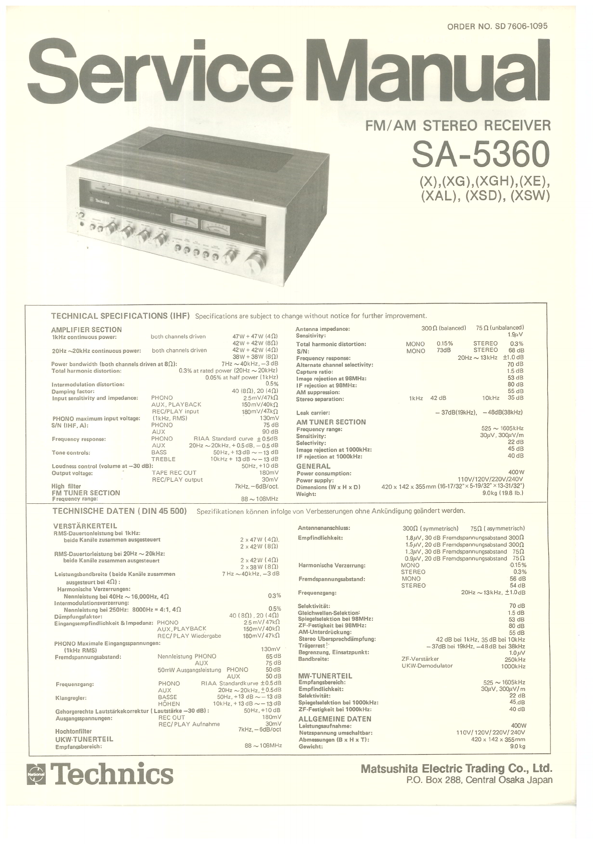 Network Scan Data Technics SA 5360 Service Manual