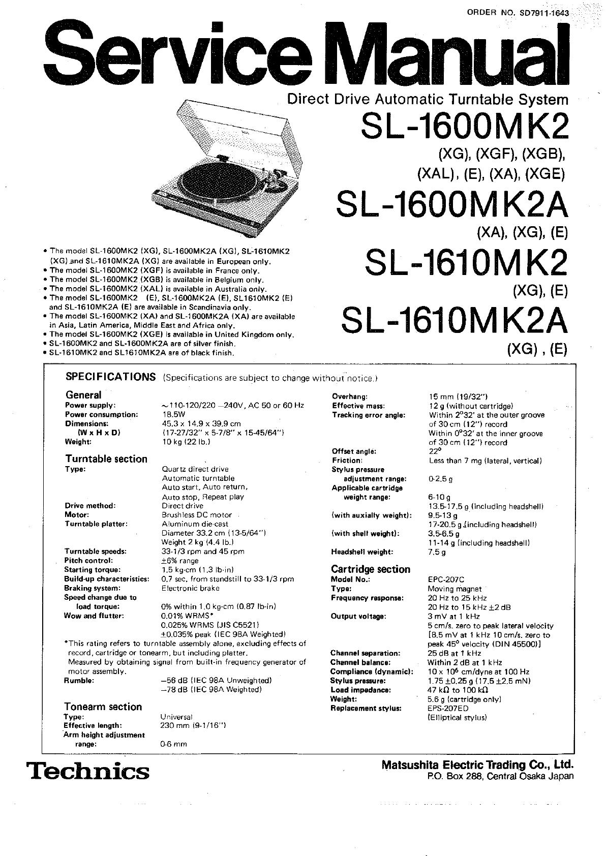 Technics Wiring Diagram And Schematics Turntable Sl 1600 Mk2 Service Manual 2000