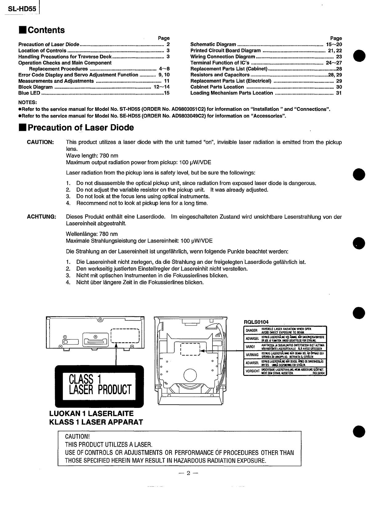 10 Technics Slhd 55 Service Manual Wiring Diagram 36982