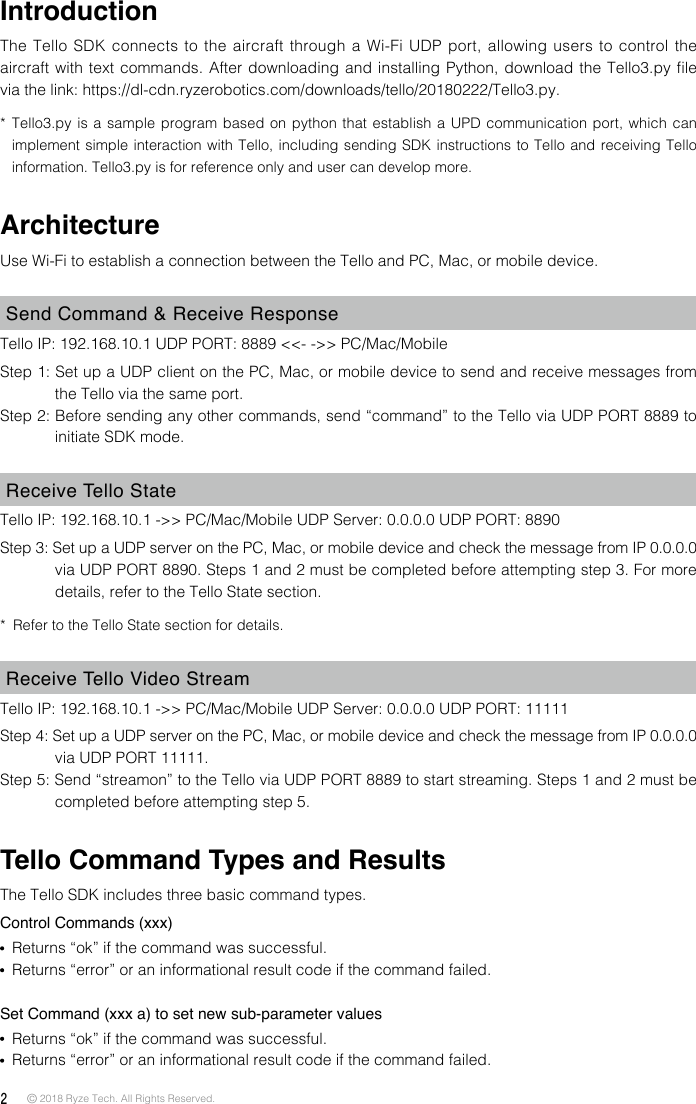 Tello SDK 2 0 User Guide
