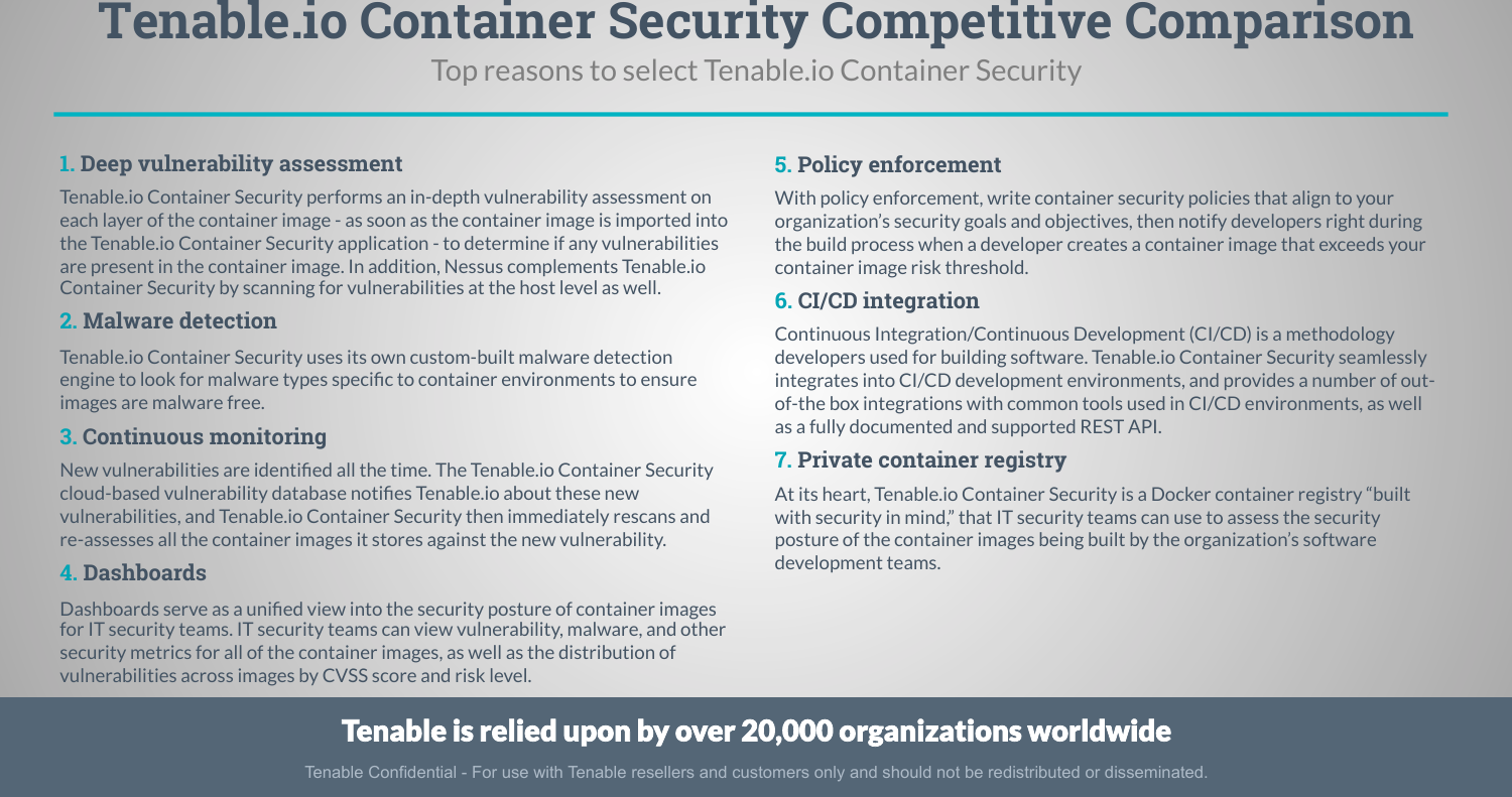 Tenable io Container Security Competitive Comparison