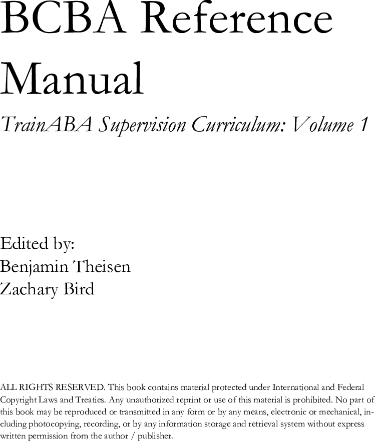 Train ABA Supervision Curriculum BCBA Reference Manual 3 0 0
