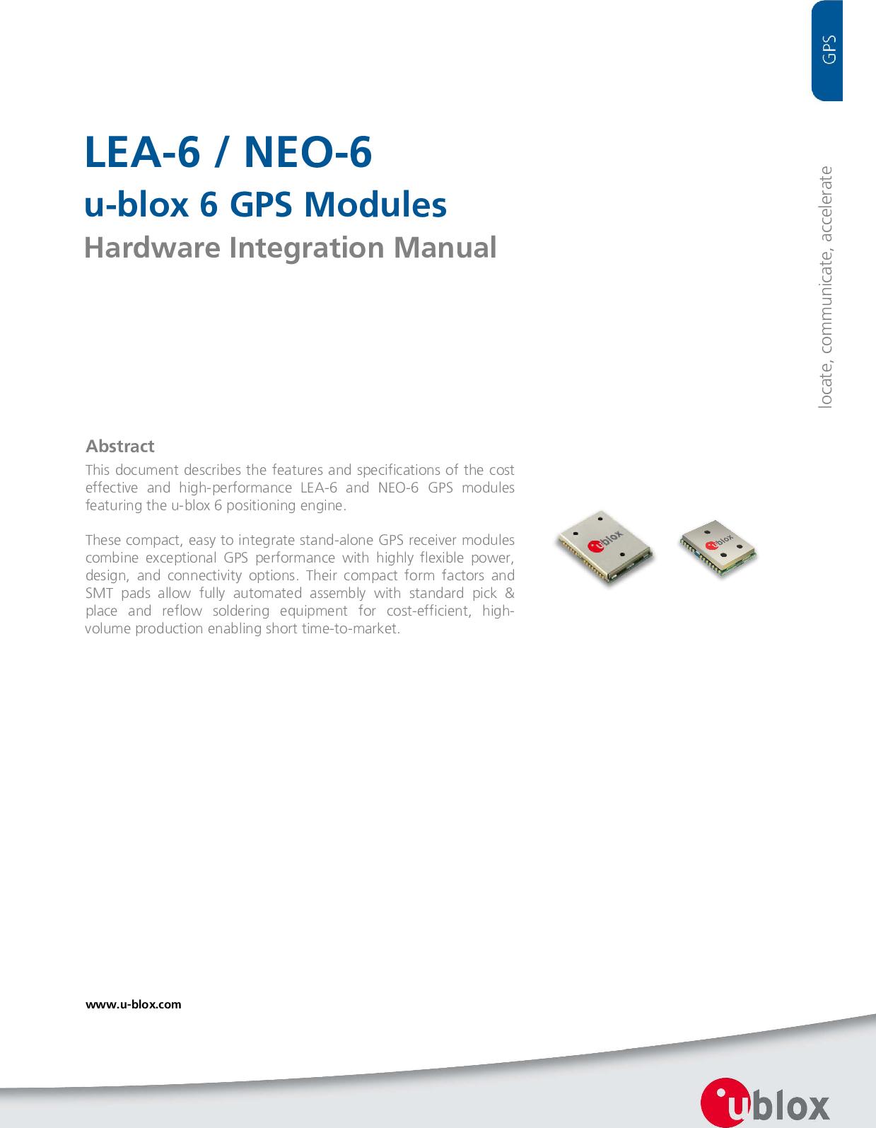 LEA 6 / NEO UBLOX GPS Hardware Integration Manual