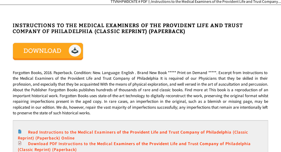 Get Kindle ^ Instructions To The Medical Examiners Of