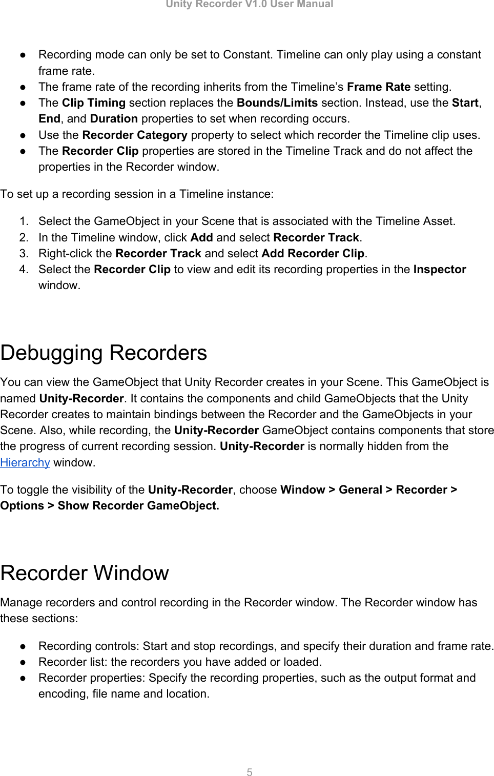 Unity Recorder V1User Manual