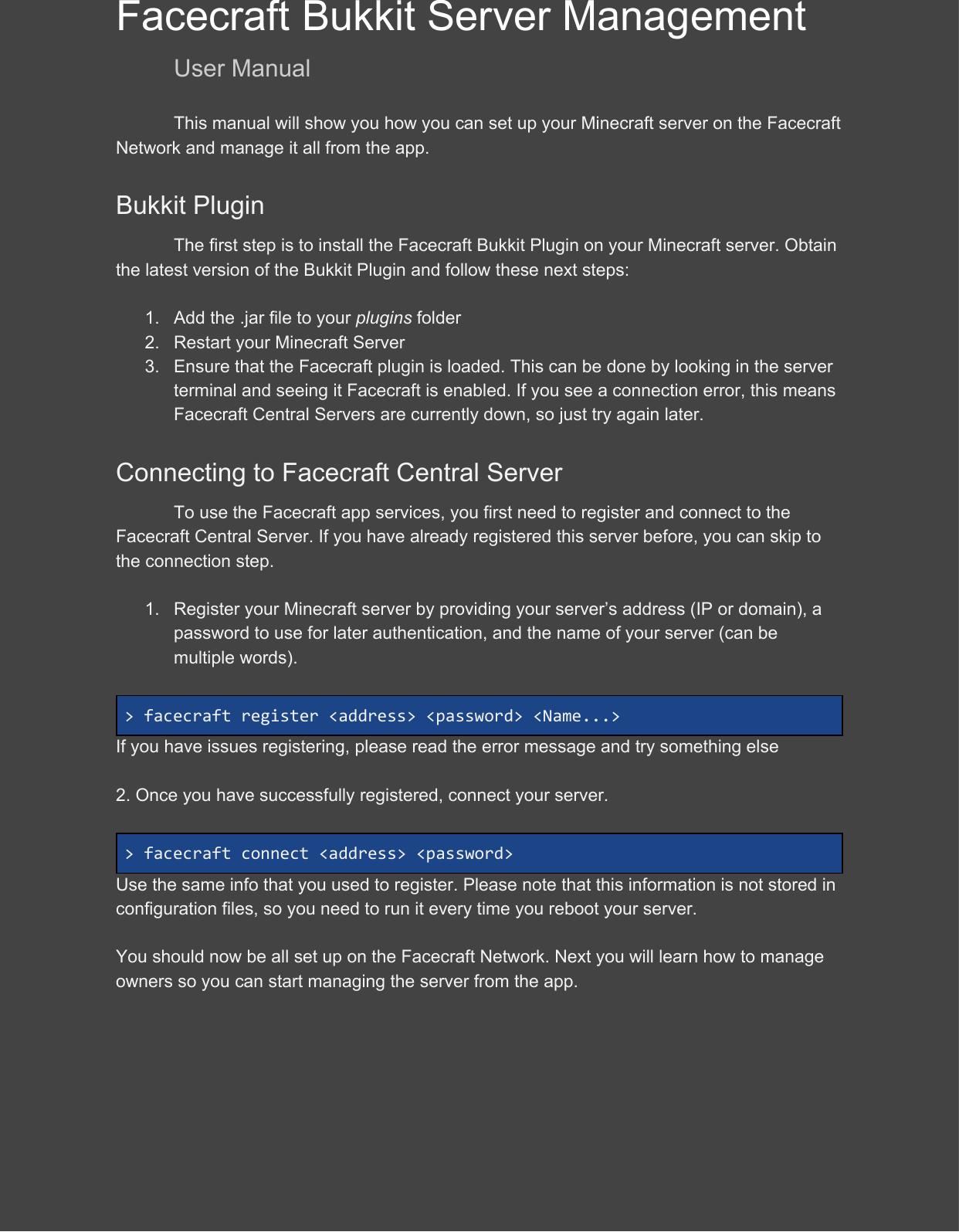 User Manual Bukkit Server