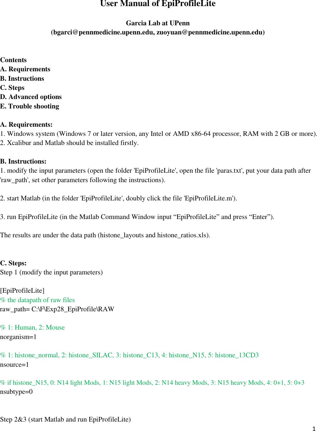 User Manual Of Epi Profile Lite