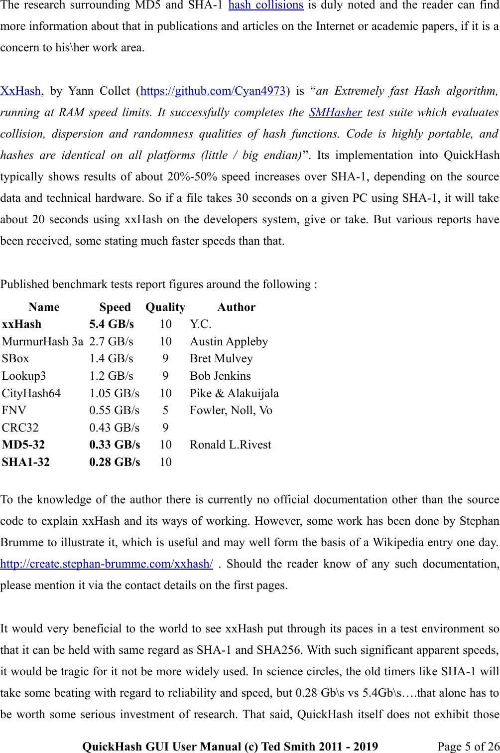 QuickHash GUI User Manual (c) Ted Smith 2011 2019