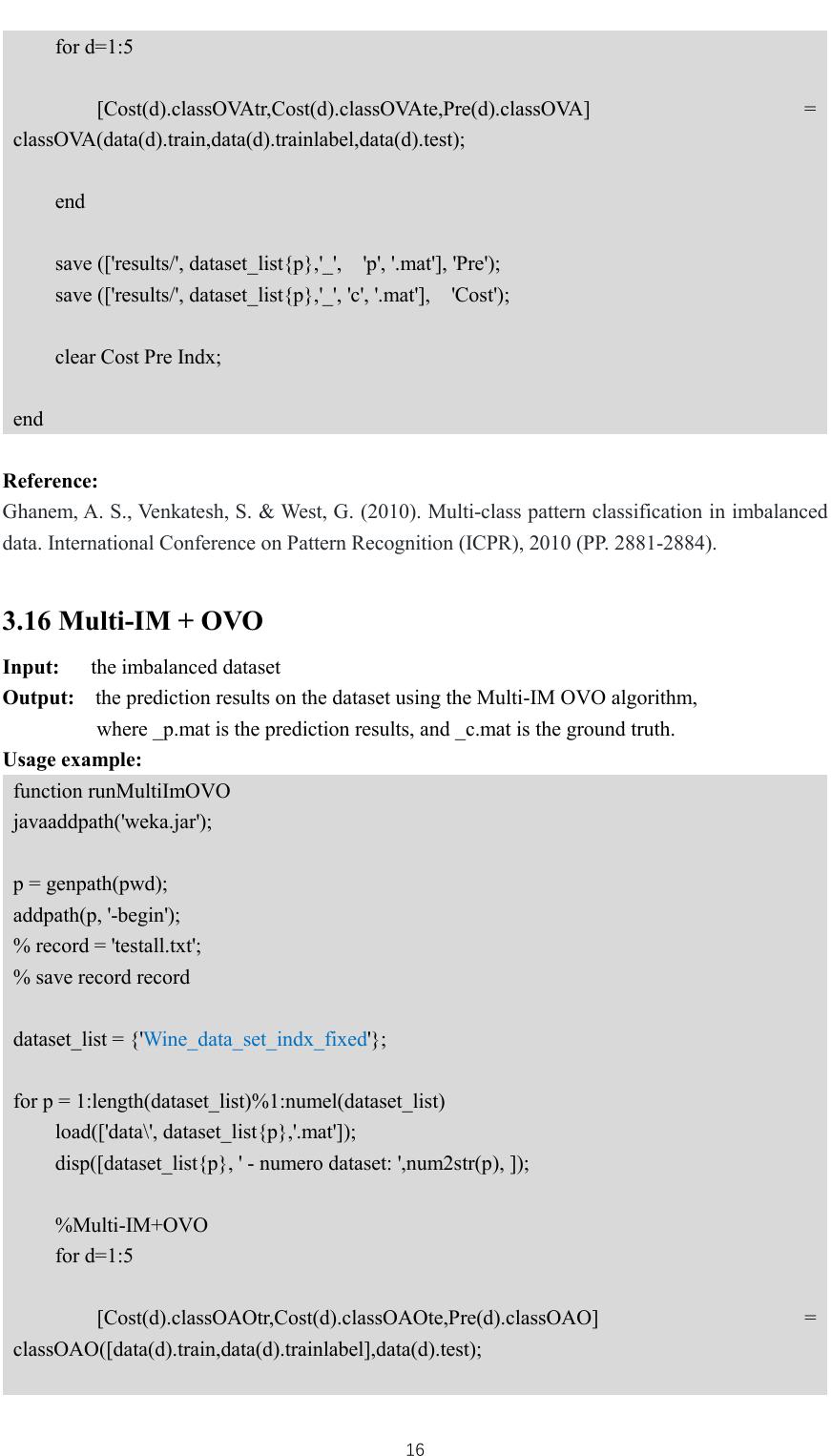 User Manual Matlab