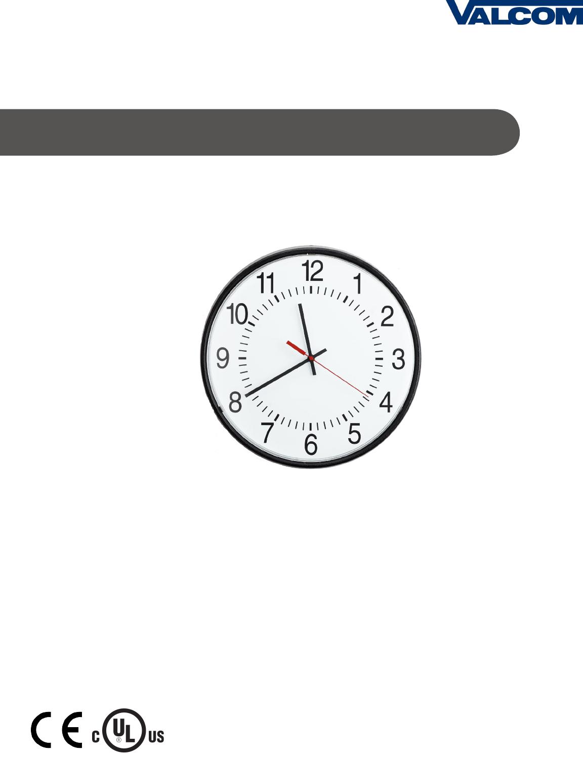 Valcom V A2412/16 Wired og Clock Installation Manual ... on
